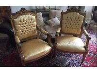 Pair of Vintage Ornate Carved and Gilt Antique Style Gold Armchairs
