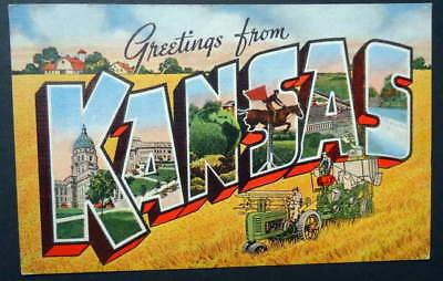 LARGE LETTER LINEN POSTCARD GREETINGS FROM KANSAS JOHN DEERE TRACTOR #W3