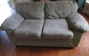 Moving- $100 FIRM Earthy Grey/Grey Suede loveseat. Exc Cond