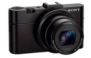 "Sony DSC-RX100M2, 1"" CMOS , 20.2 MP, f/1.8 Carl Zeiss T* lens"