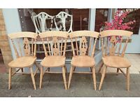 Set of four superb quality solid heavy natural pine farmhouse chairs Old Creamery vgc