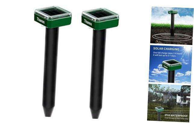 Solar Mole and Groundhog Repellent Stakes Sonic Gopher Repeller Vole 2PCS