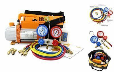 Vacuum Pump Manifold Gauge Set - Hvac Ac Refrigeration Kit - Diagnostic R12