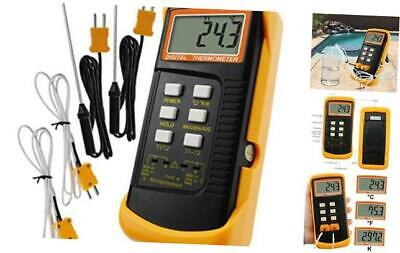 Digital 2 Channels K-type Thermometer W 4 Thermocouples Wired Stainless
