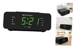 "Emerson SmartSet Alarm Clock Radio with AM/FM 0.9"" Jade Green LED clock display"