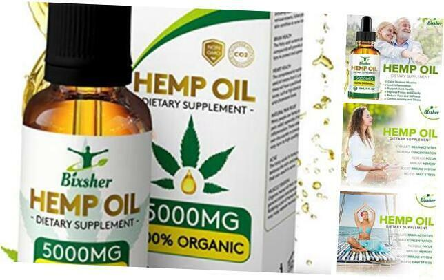 High-Strength-Hemp-Oil-5000MG, 100% Pure-Natural, Pain-Stress-Anxiety-Relief,