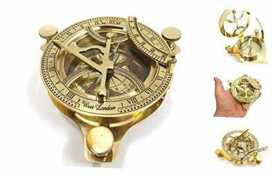 5 Sundial Compass Solid Brass Sun Dial - $26.49
