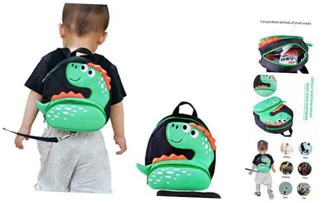 Toddler Backpack with Anti-Lost Harness Small Dinosaur Backpack Safety Leash for