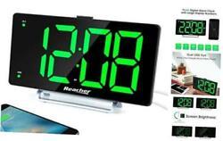 Large Alarm Clock 9 LED Digital Display Dual Alarm with USB Charger Port 0-100