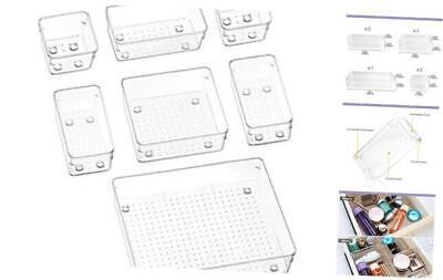 7 Pcs Desk Drawer Organizers Trays Set Clear Plastic Storage Bins 7 Pcs