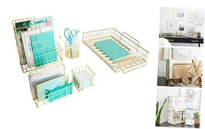Office Supplies Desk Accessories For Women - 5 Piece Wire Desk Organizer Gold