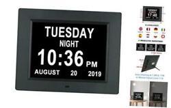 [Auto-Dim Options] Digital Day Calendar Clock Non-Abbreviations Day Date 8