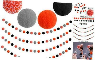 4 Pack Halloween Felt Ball Garland Halloween Garland Decorations 80 Pompom Ball