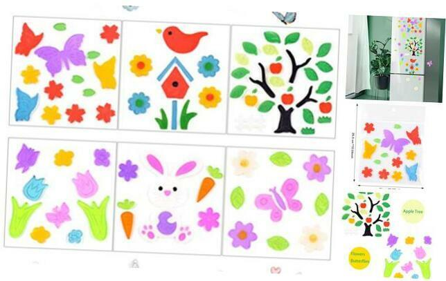Spring Decorations Gel Window Clings for Glass Windows,Spring Decor Flower Butte