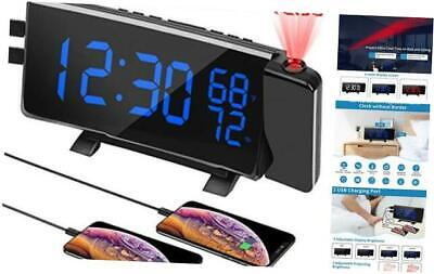 PEMOTech Projection Alarm Clocks for Bedrooms,【Temperature & Humidity Display】