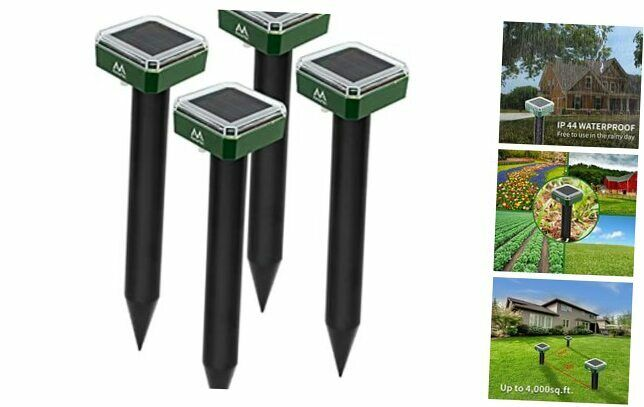Mole Repellent Solar Powered – Solar Animal Repeller Stakes for Gopher, 4
