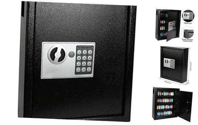 Electronic 40 Keys Cabinet Wall Mount,Digital Key Safe Lock Box,Large Security