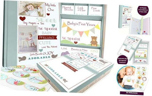 Baby Memory Book with Keepsake Box and  30 Monthly Baby First Milestone Stickers