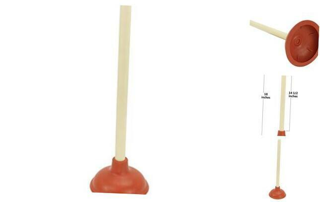 Wood Handle Rubber Force Cup Toilet and Sink Plunger, 18-Inch