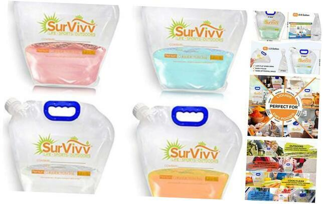 Premium Collapsible Water Container Bag, No-Leak, 1.3 Gallon/5L 1.3 Gal 4-pack