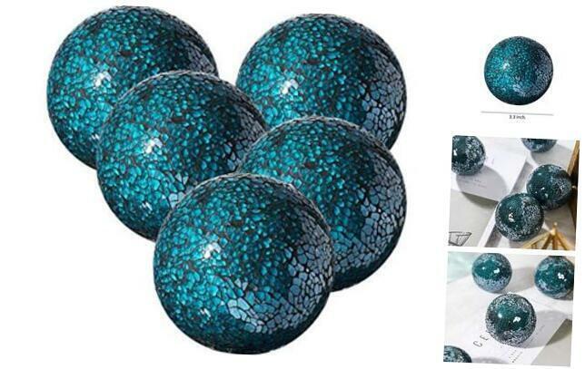 "Decorative Balls Set of 5 Glass Mosaic Sphere Dia 3"" () Turquoise"