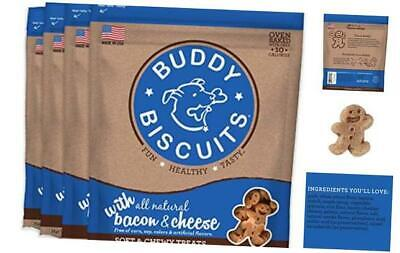 Buddy Biscuits, Soft & Chewy Treats for Small & 6 oz. (4 PACK) Bacon & Cheese