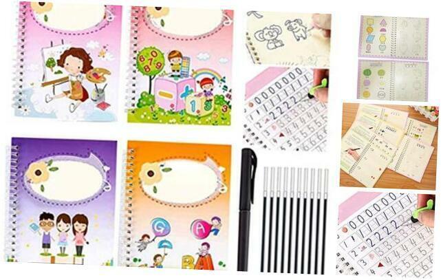 Magic Writing Board for Kids, 4 Pcs Reusable Magic Writing Paste for Children