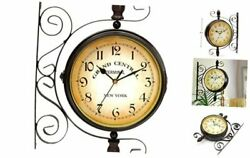 puto Vintage-Inspired Double Sided Wall Clock - 8 Wrought Iron Train Station St