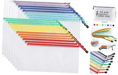 24pcs Mesh Zipper Pouch Document Bag Plastic Zip File Folders Letter Sizea4