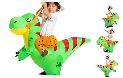 Inflatable Costume Dinosaur Riding a T-Rex Air Blow-up Deluxe Halloween Costume