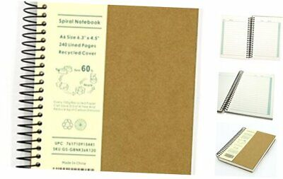 A5 Size Spiral Coil Notebook Diary Ruled School Vintage Student Note Book #JP