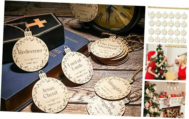 24 Pieces Names of Jesus Christ Ornaments Christmas Wood Hanging Ornaments