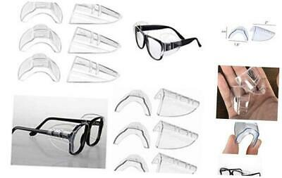 6 Pairs Safety Eye Glasses Side Shields, Slip On Clear Side Shield for Safety Gl