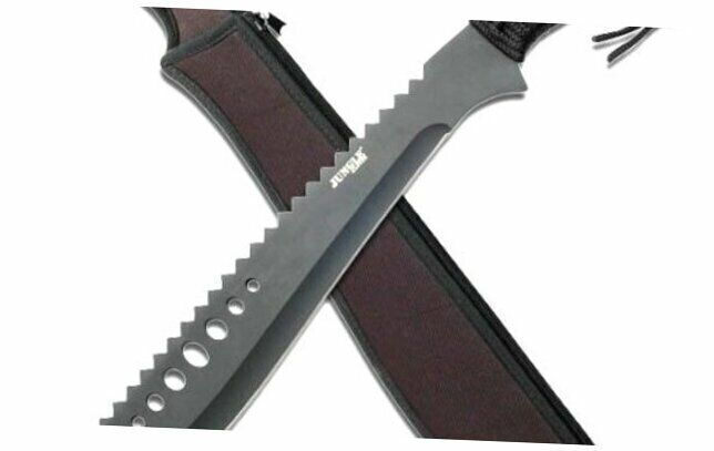 JM-031B Machete, Black Reverse Serrated Blade, Black Cord-Wrapped Handle, 21-In
