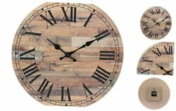 Old Fashioned 14 Inch Round Wood Hanging Wall Clock Decoration For Home Rustic