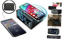 Alarm Clock with Wireless Charging Dock for Phone Radio Bluetooth Speaker & LED