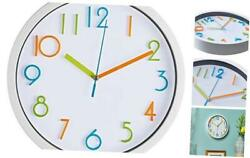 Bernhard Products Colorful Kids Wall Clock 10 Inch Silent Non Ticking Quality Qu
