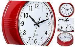 Bernhard Products Retro Wall Clock 9.5 Inch Red Kitchen 50's Vintage Design Roun
