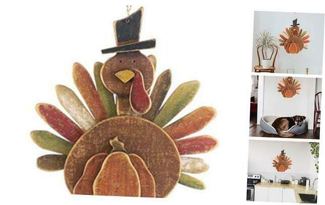 Tommy Turkey Wood Wall Hanging with Jute Hanger for Thanksgiving Decorative