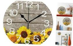 Baofu Sunflower Wall Clock Round Colorful Vintage Silent Non Ticking Battery Ope
