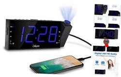 "Projection Alarm Clock with AM FM Radio | 7"" LED Digital Ceiling Display, Sleep"