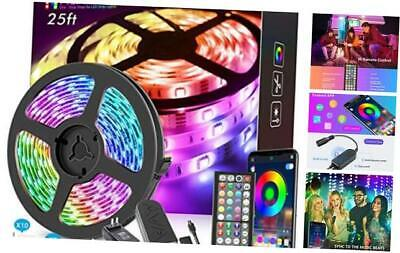 25ft LED Strip Lights, APP Control Music Sync Color Changing
