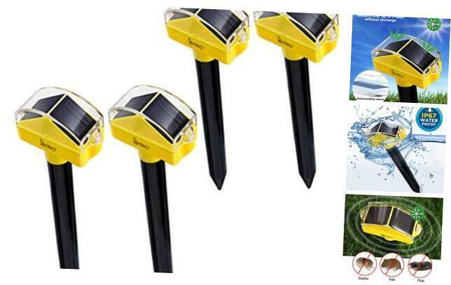 Solar Powered Ultrasonic Mole Repellent Gopher Repeller Vole Deterrent 4 Pack