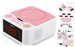Small Alarm Clock FM Radio with CD Player, USB Port, AUX Input, Remote Pink
