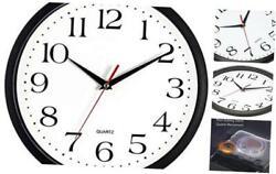 Bernhard Products Black Wall Clock, Silent Non Ticking - 12 Inch Quality Quartz