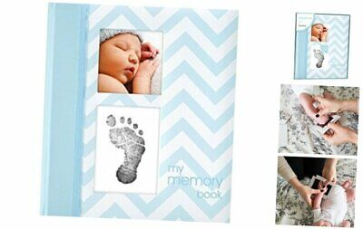 Pearhead First 5 Years Chevron Baby Memory Book with Blue Chevron Babybook