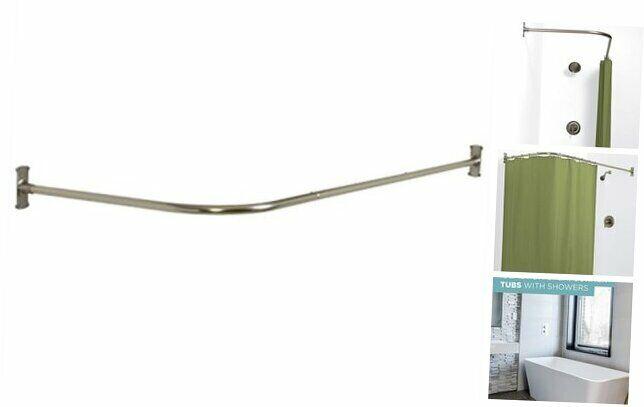 NeverRust Aluminum Rustproof L-Shaped Corner Shower Curtain Rod, Satin Nickel