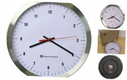 Bjerg Instruments Modern 12 Stainless Silent Wall Clock White Face with White