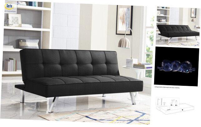 Chelsea 3-Seat Multi-function Upholstery Fabric Futon, Black