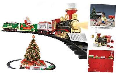 Christmas Toy Train Set, Electric Steam Train Toy w/ Smoke, Lights & Sounds Rai